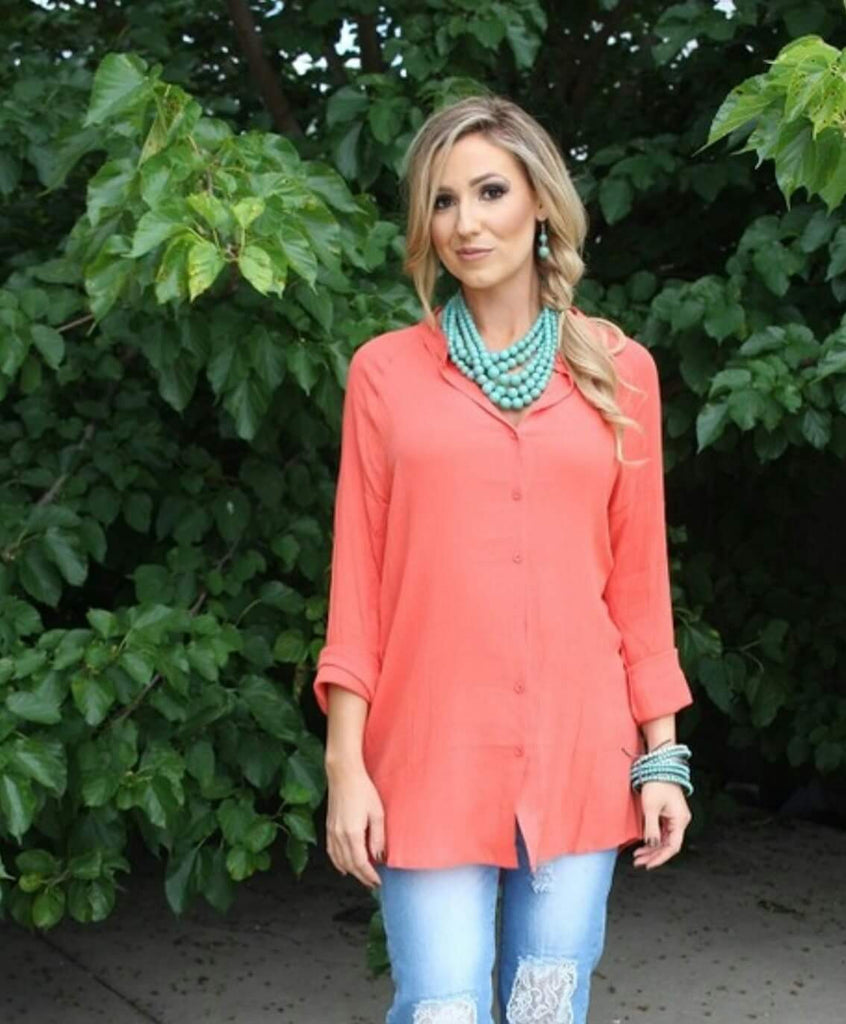 Persuade Me Coral Top - Plus Size