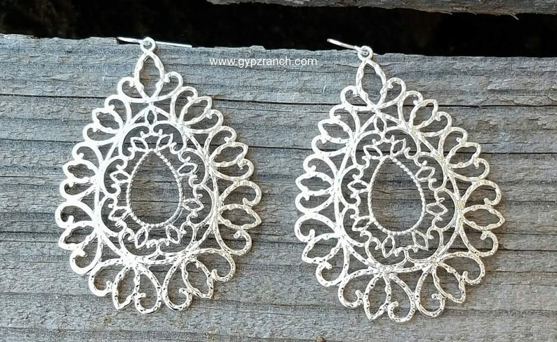 Teardrop Silver Patina Earrings