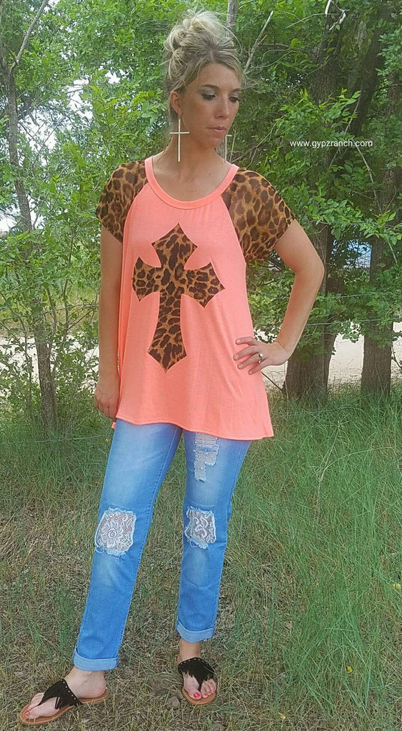 Night Life Neon Leopard Cross Top - Also in Plus Size