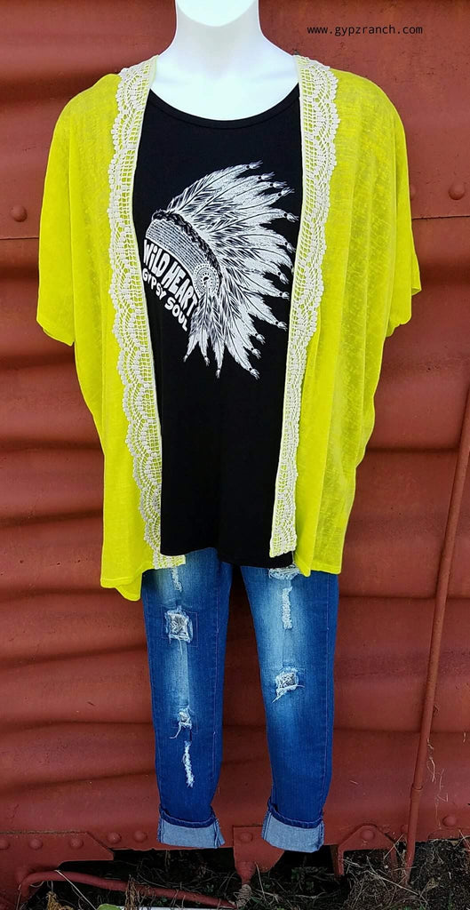 Go Your Own Way Neon Lime Cardigan - Plus Size