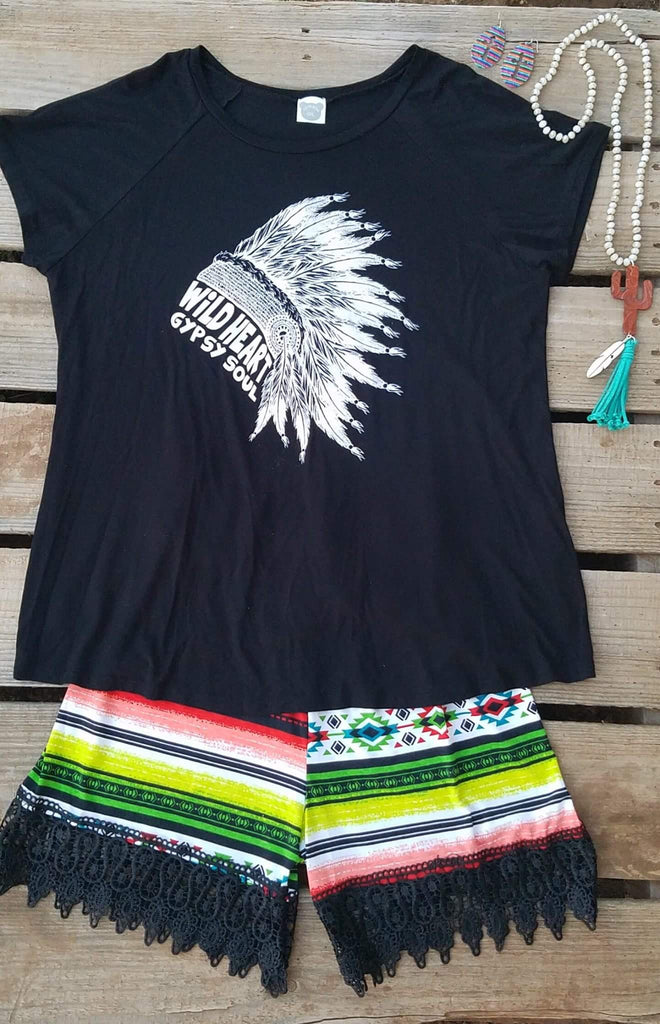 Sierra Serape Black Trim Shorts  - Also in Plus Size