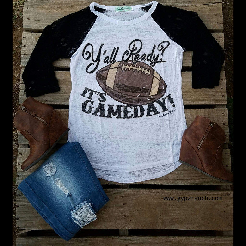 Y'all Ready It's Game Day Football Top White -Also in Plus Size