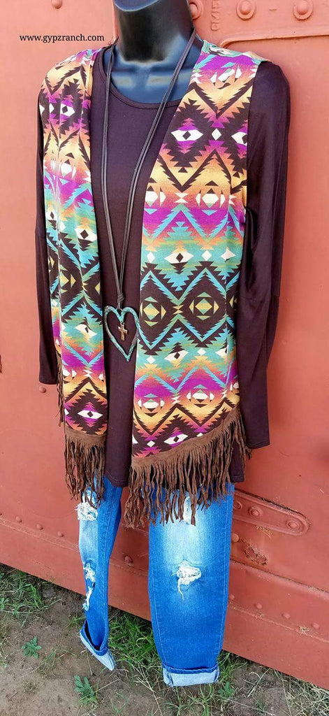 Stormy's Honor Tribal Fringe Vest-Also in Plus Size
