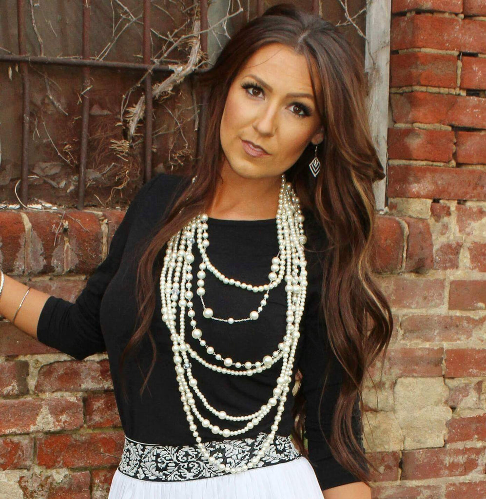 Lacy Long Layered Pearl Necklace