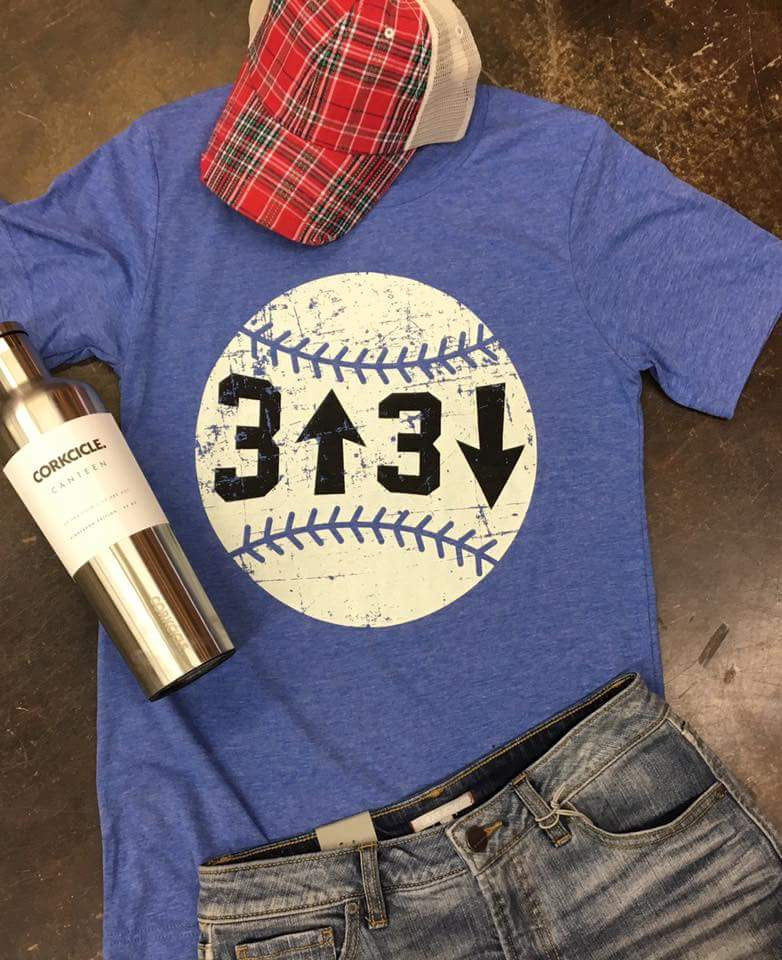 3 up 3 down (Blue) Baseball Top - Also in Plus Size