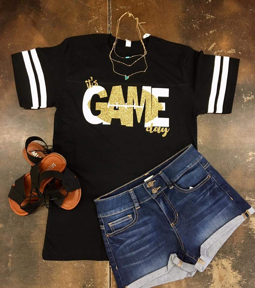 It's Game Day Black & Gold Football Top - Also in Plus Size