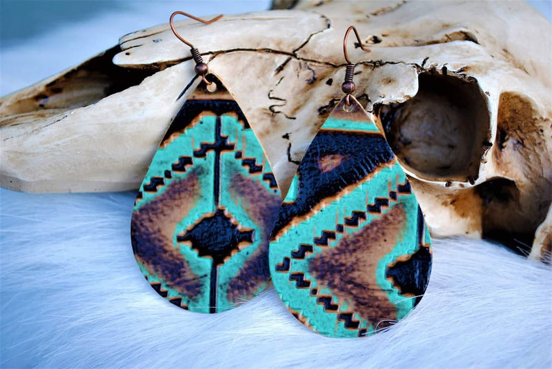 Navajo Turquoise Leather Earrings