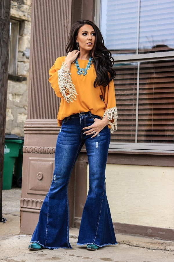 Famous In A Small Town Bell Flare Jean's  - Also in Plus Size