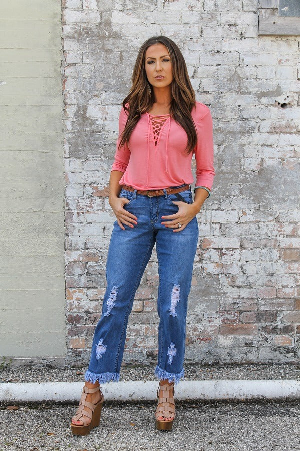 Baylor Distressed Frayed Boyfriend Jeans - Also in Plus Size