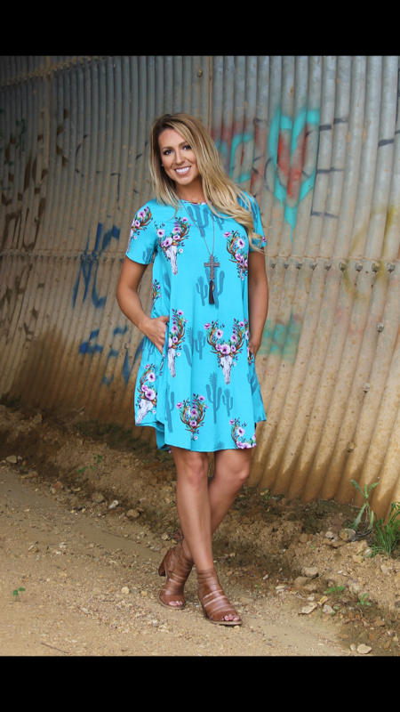 Cadie Turquoise Tunic Dress  - Also in Plus Size