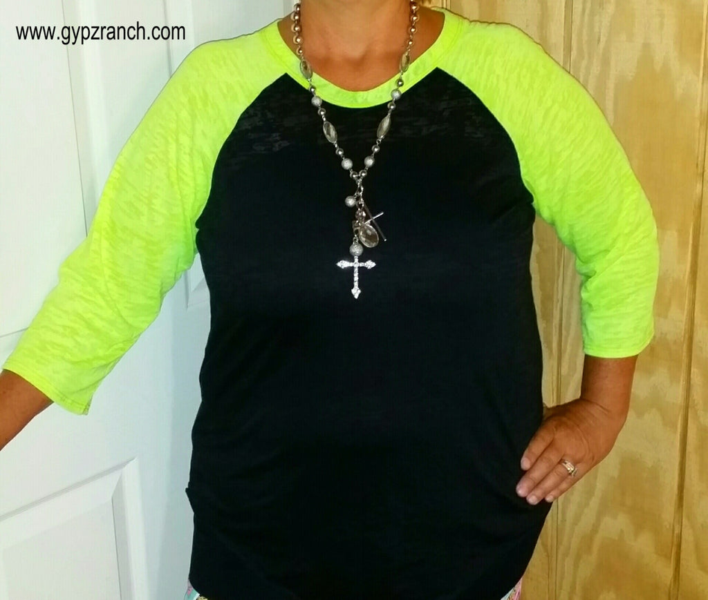How Casual Neon Yellow Baseball Top - Also in Plus Size