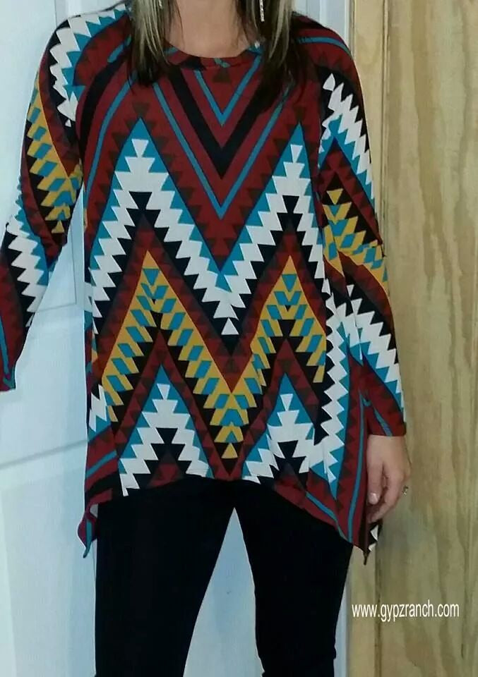 Sweet Home Alabama Chevron Tunic - Also in Plus Size