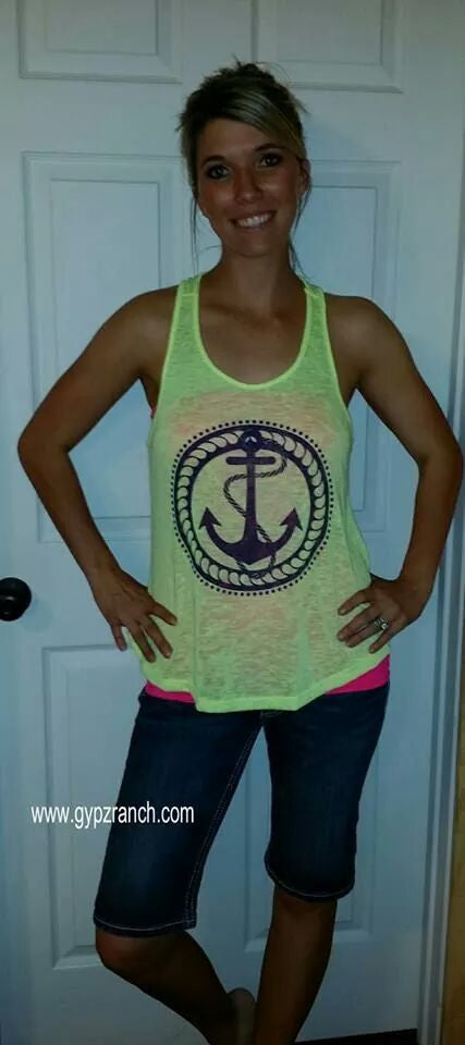 Anchored Forever NEON Yellow Tank