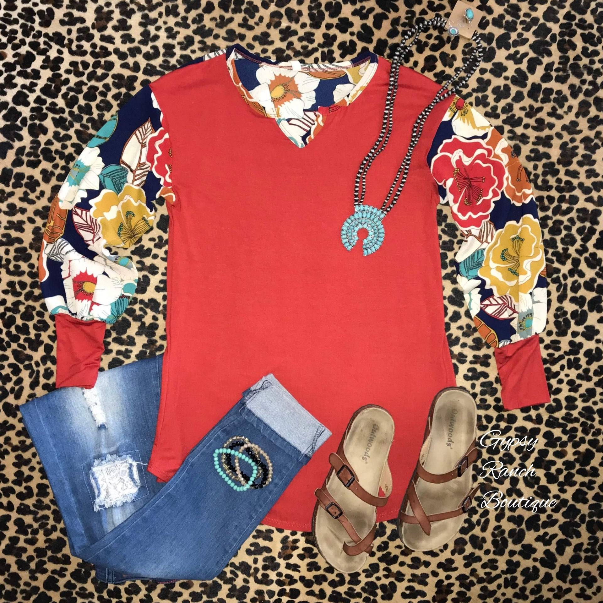 5c357e3337c Baylor Rust Vintage Floral Bubble Sleeve Top - Also in Plus Size – Gypsy  Ranch Boutique