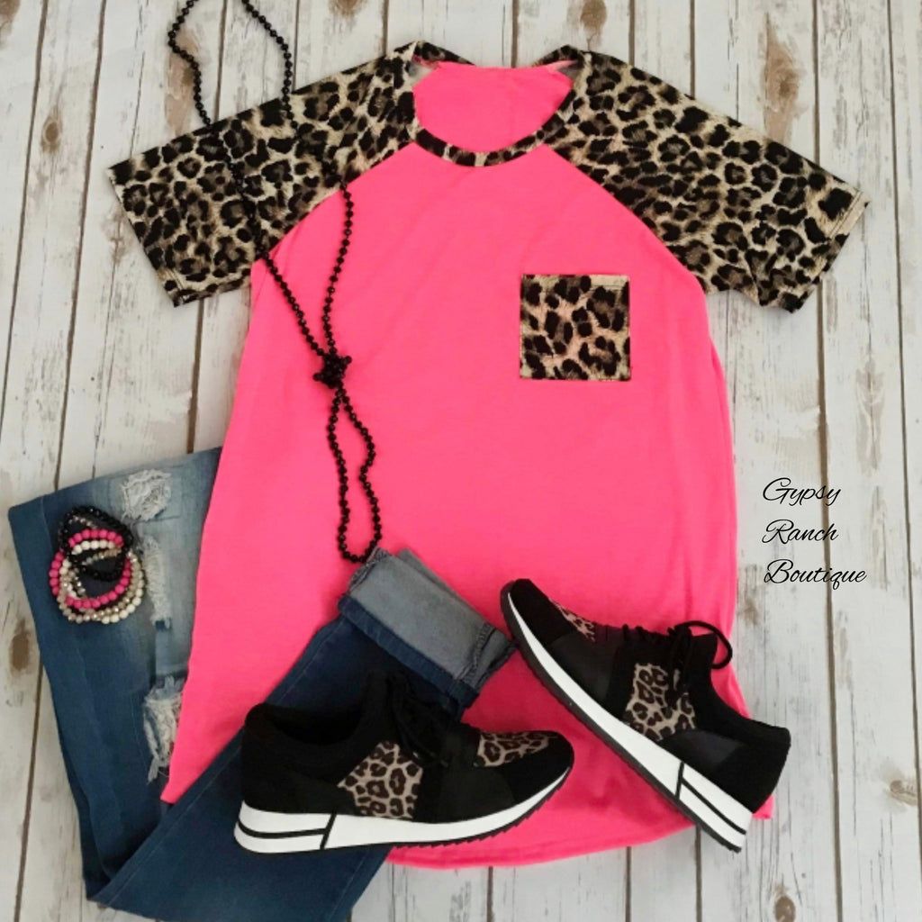 Love Spell Neon Pink Leopard Top - Also in Plus Size