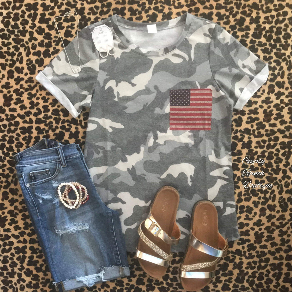 Camo Proud American Top - Also in Plus Size