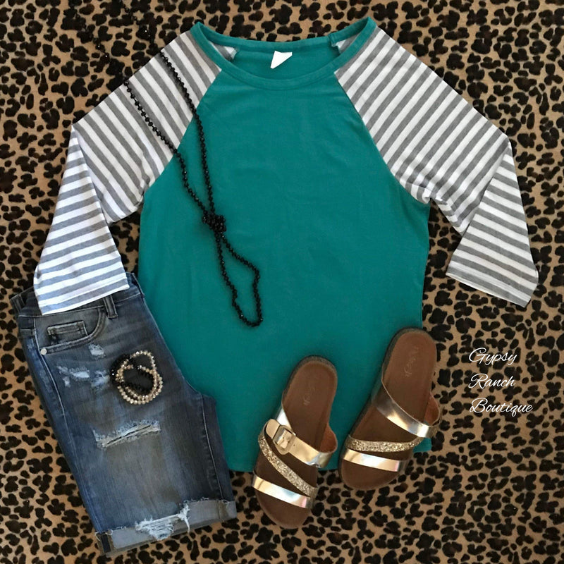 Evolution Turquoise & Stripe Top - Also in Plus Size