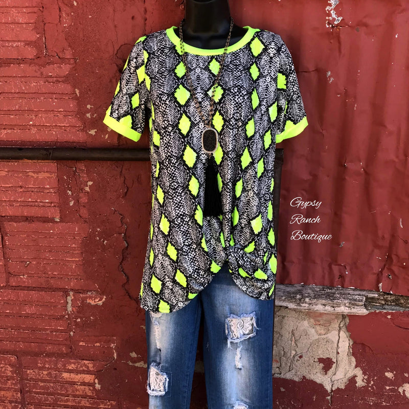 Westbound Neon Snake Twist Top - Also in Plus Size