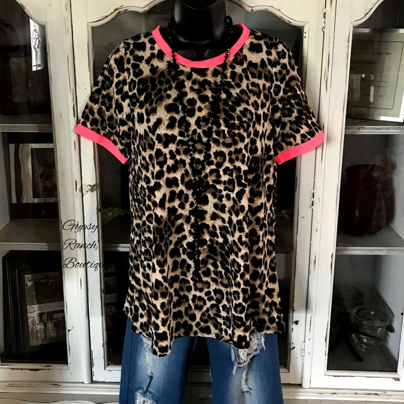 Sahala Neon Pink & Leopard Top - Also in Plus Size