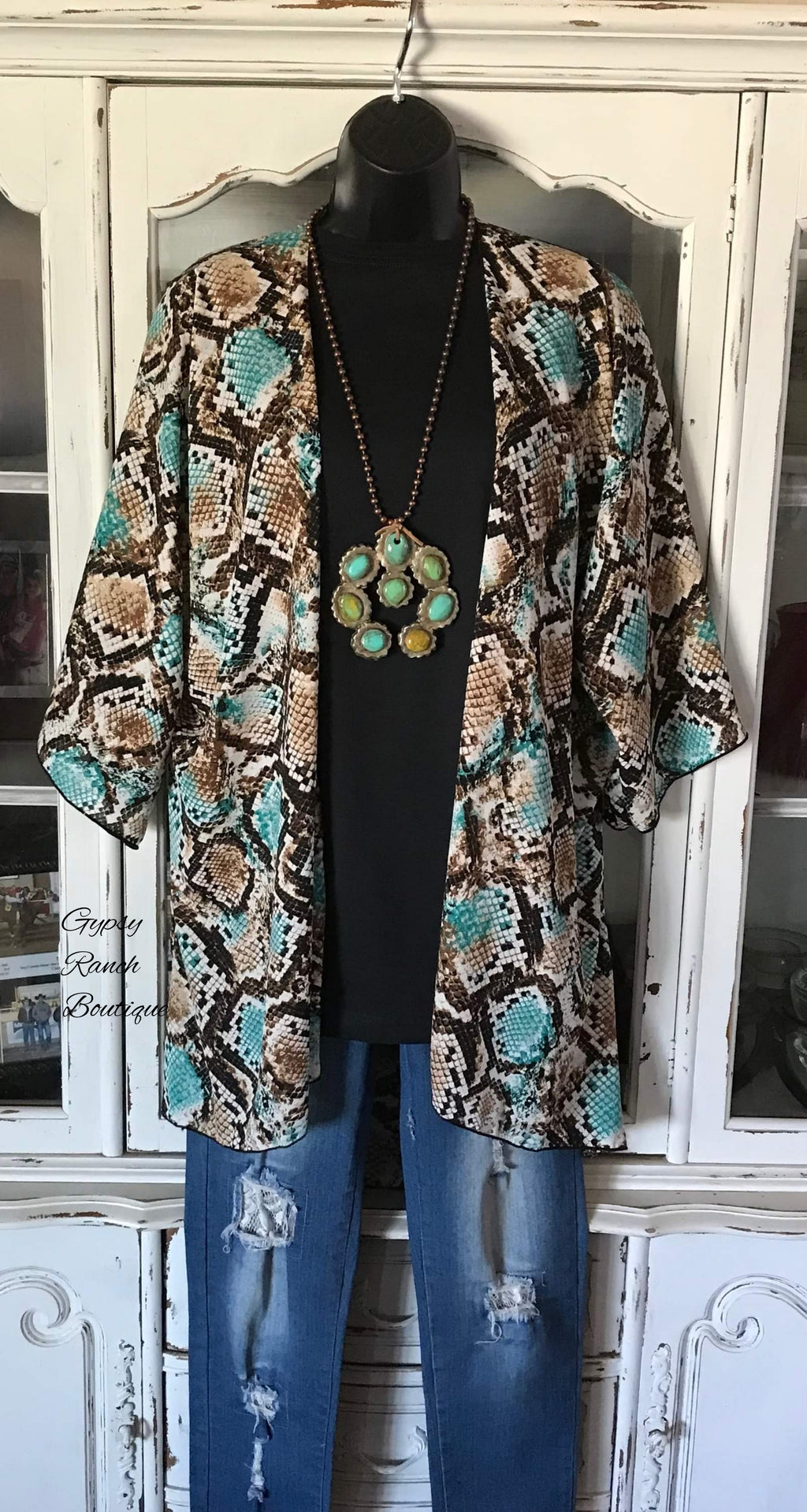 Detroit Heights Snake Kimono Cardigan -Also In Plus Size
