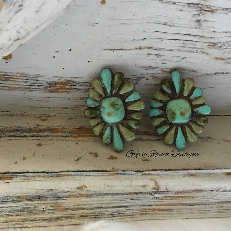Stampede Turquoise Post Back Earrings