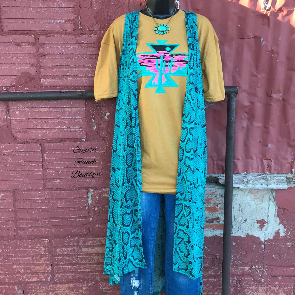 523b4bc8a35c36 Lakeport Turquoise Snake Print Vest - Also in Plus Size