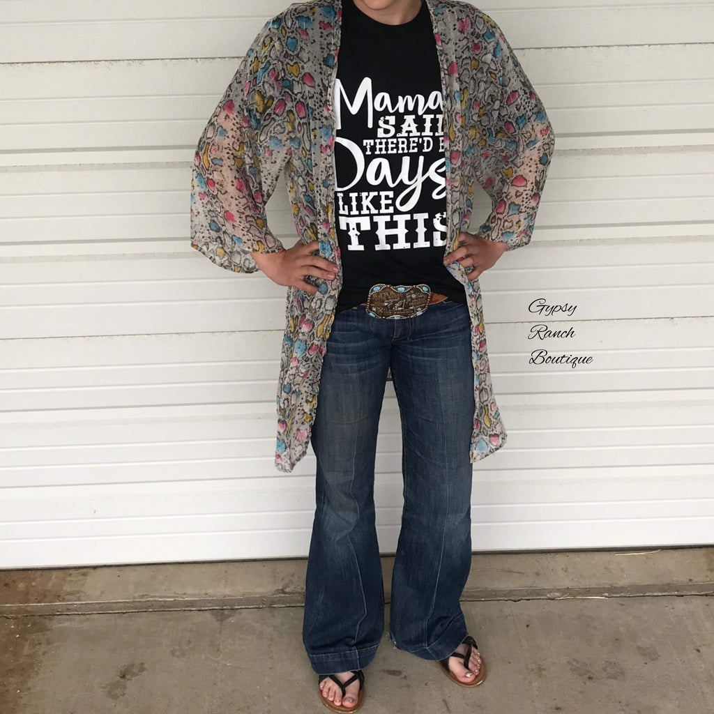 Brimley Multi Color Snake Kimono Cardigan -Also In Plus Size