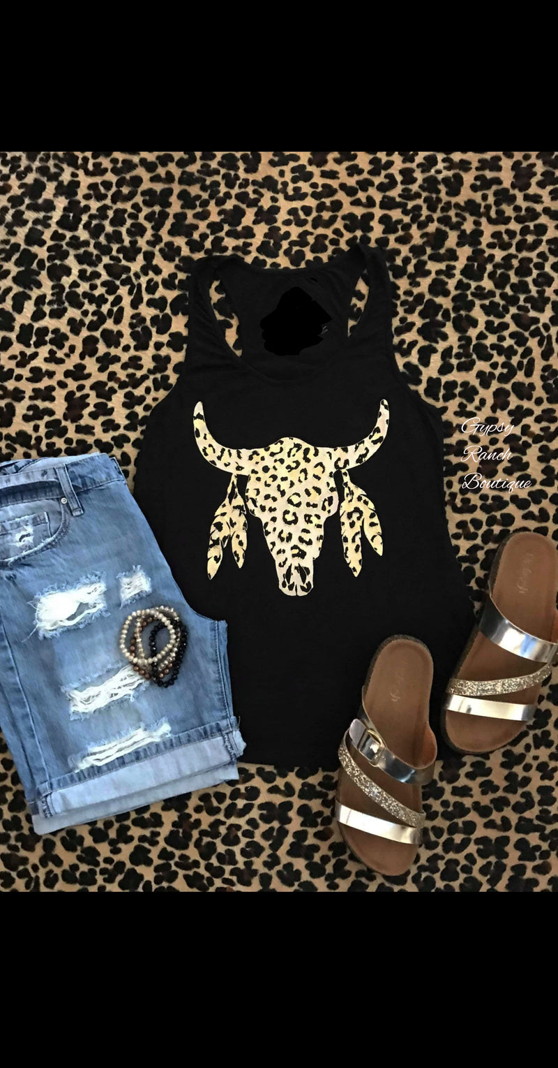 Metallic Leopard Steer Tank Top