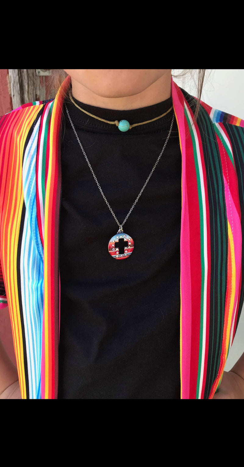 Bandera Serape Cross Necklace