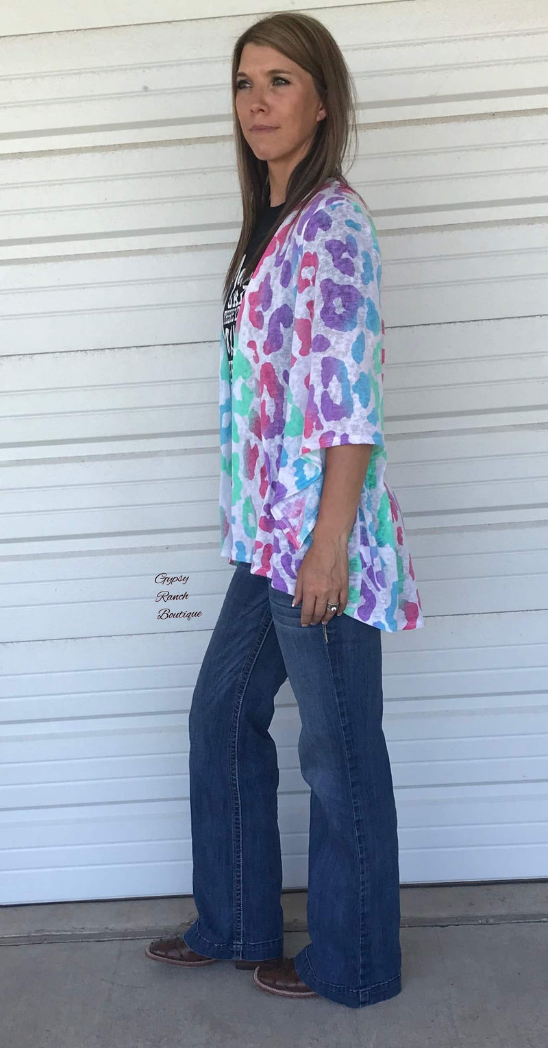 Dally Multi Color Leopard Kimono