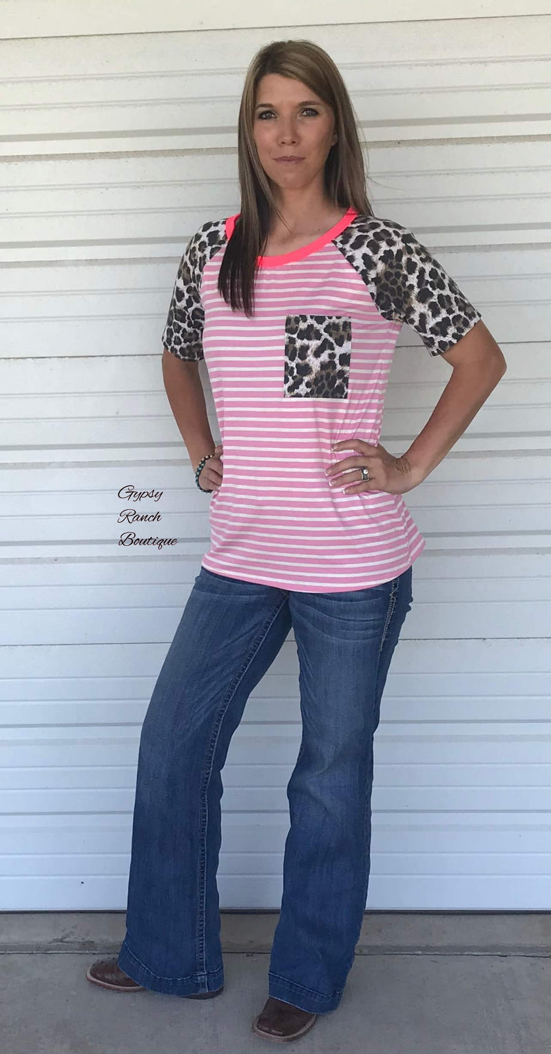 Seminole Leopard Stripe Top