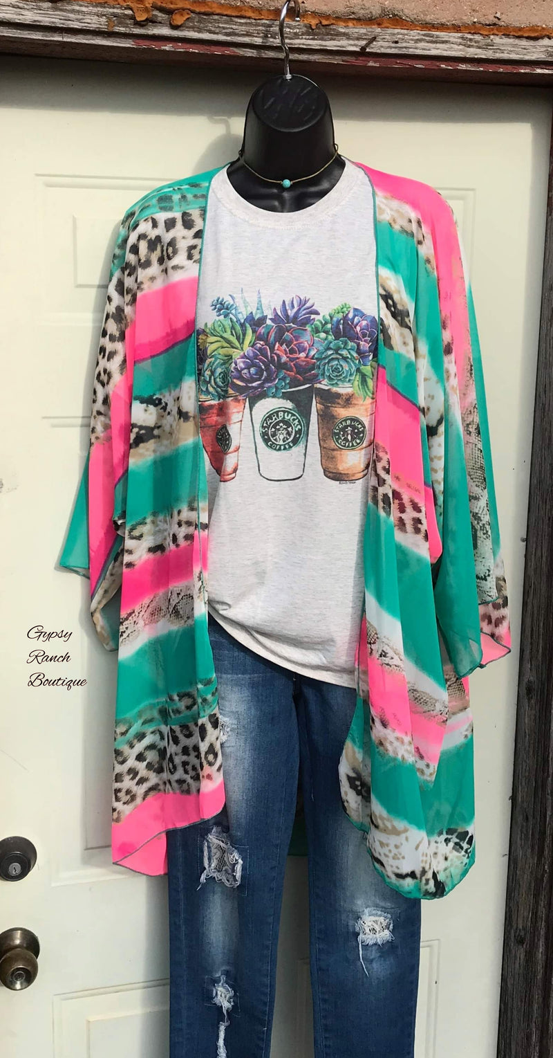 Greeley Serape Leopard Kimono - Also in Plus Size