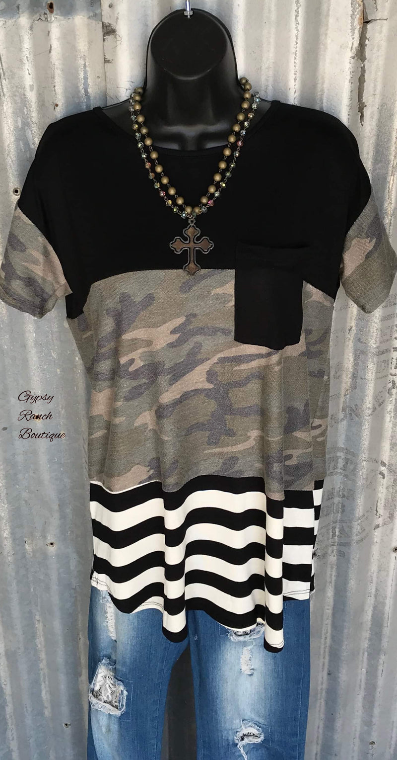 Titus Camo Stripe Top - Also in Plus Size