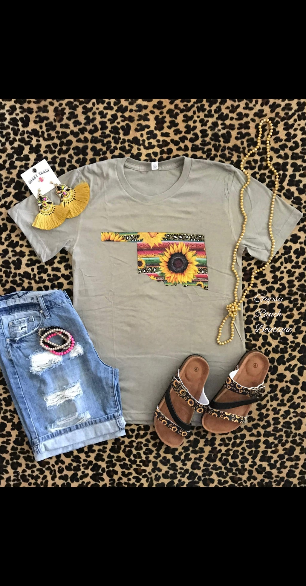 Oklahoma Serape Sunflower Leopard Top - Also in Plus Size