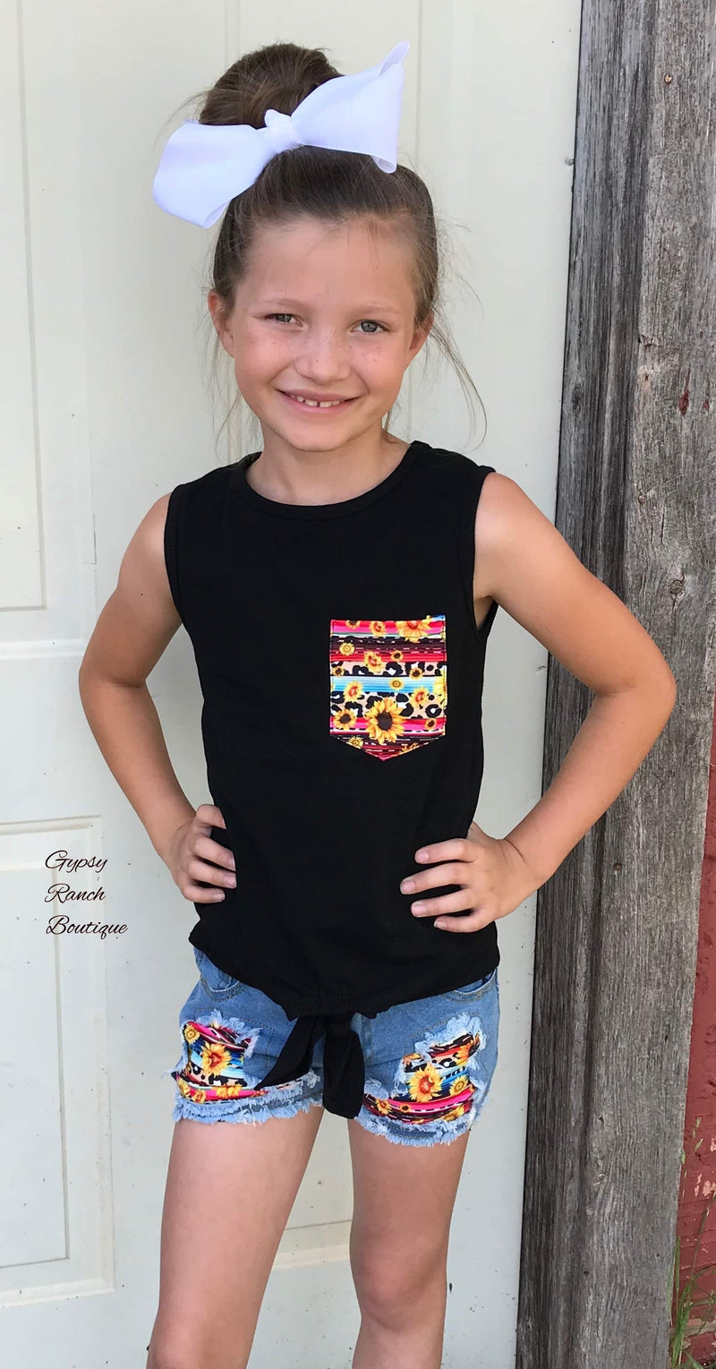 Knoxlee Serape Sunflower Top & Short Set - Kids