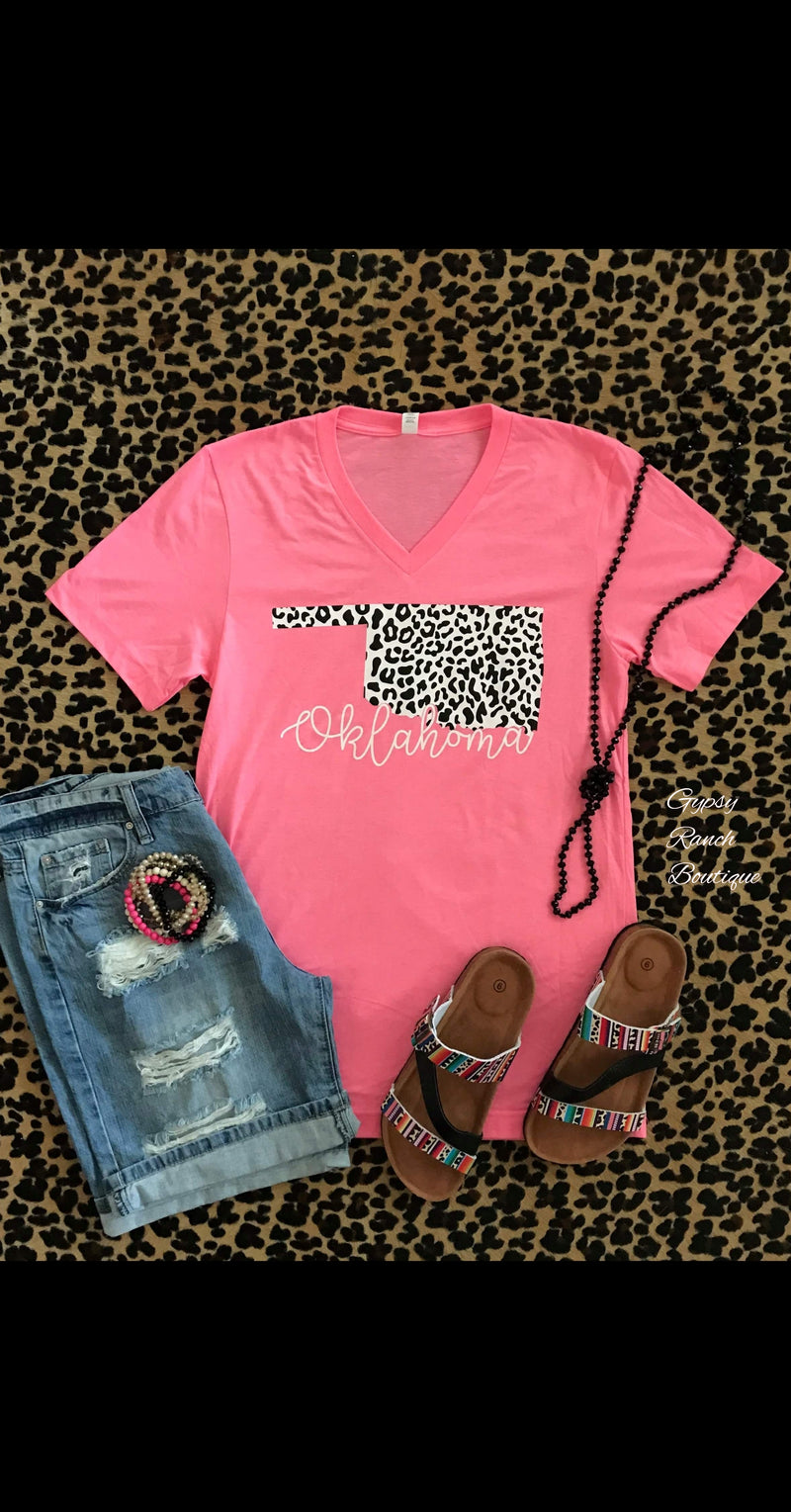 Oklahoma Neon Pink Snow Leopard Top - Also in Plus Size