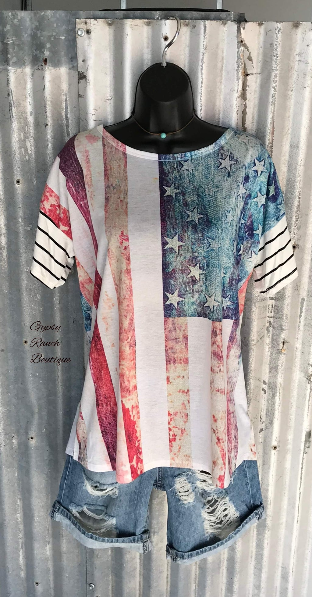 Flag Distressed Top