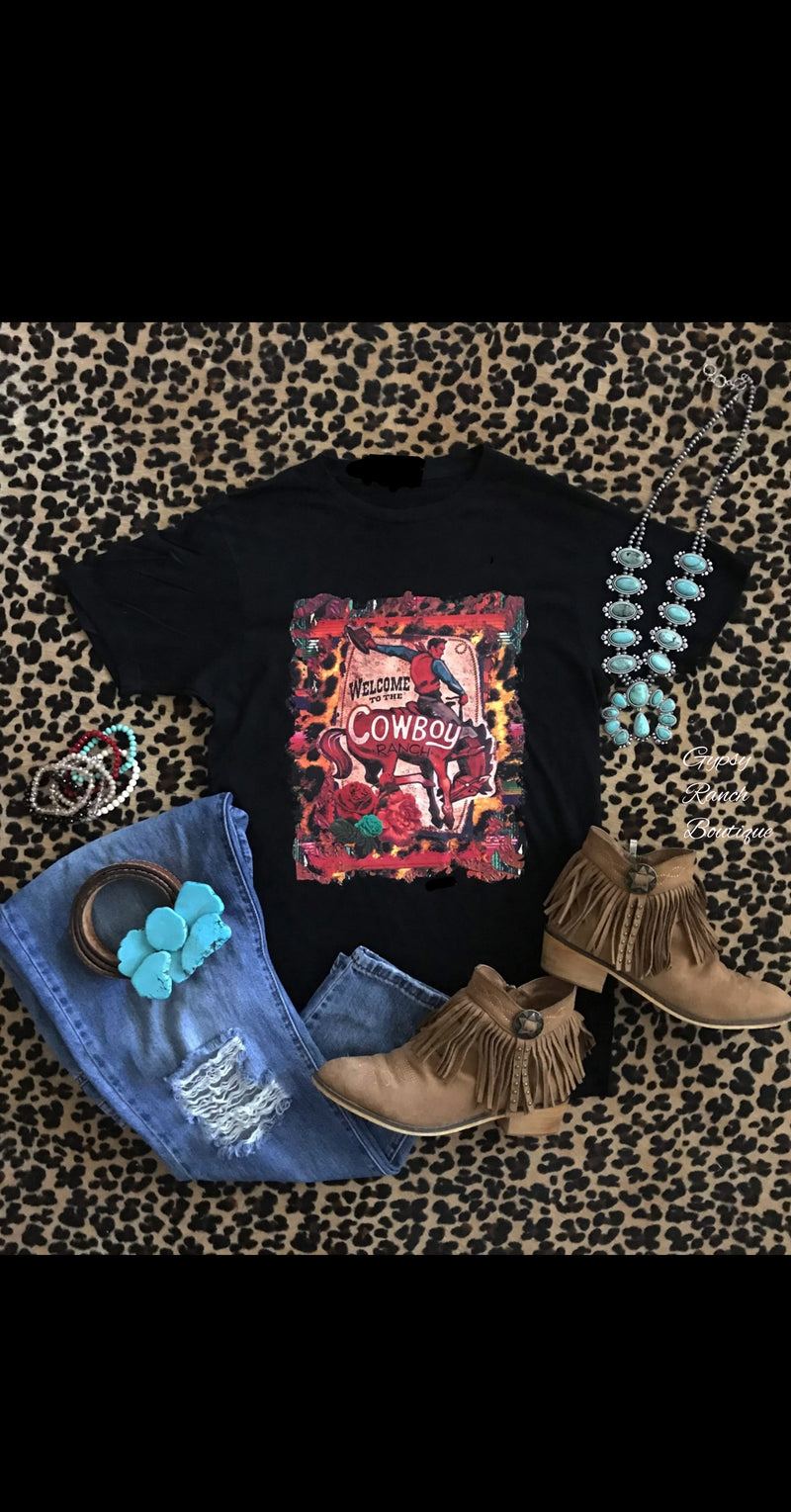 Cowboy Ranch Bronc Leopard Top - Also in Plus Size