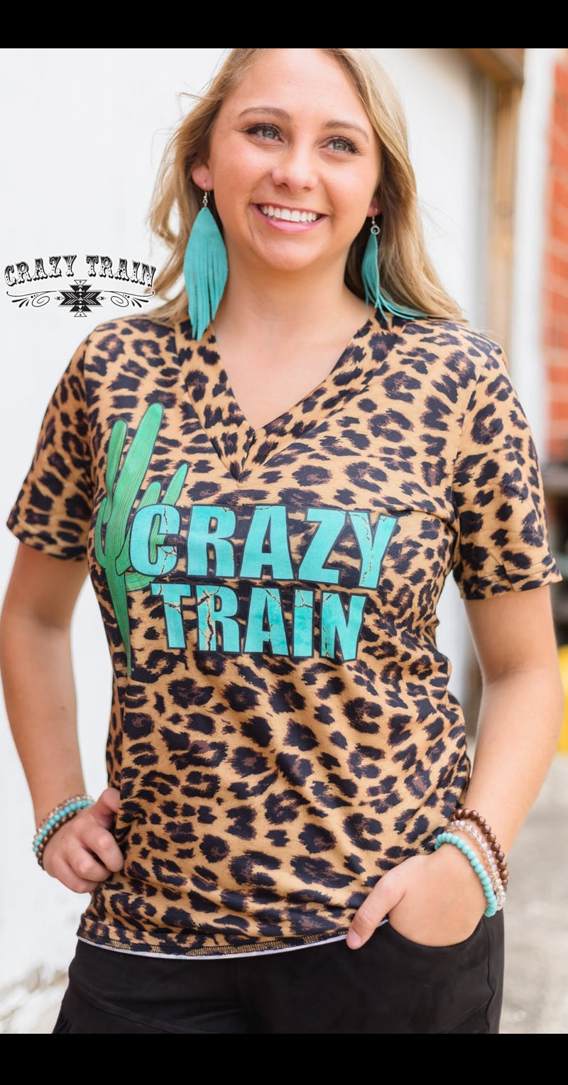 Cactus Crazy Train Leopard Top - Also in Plus Size