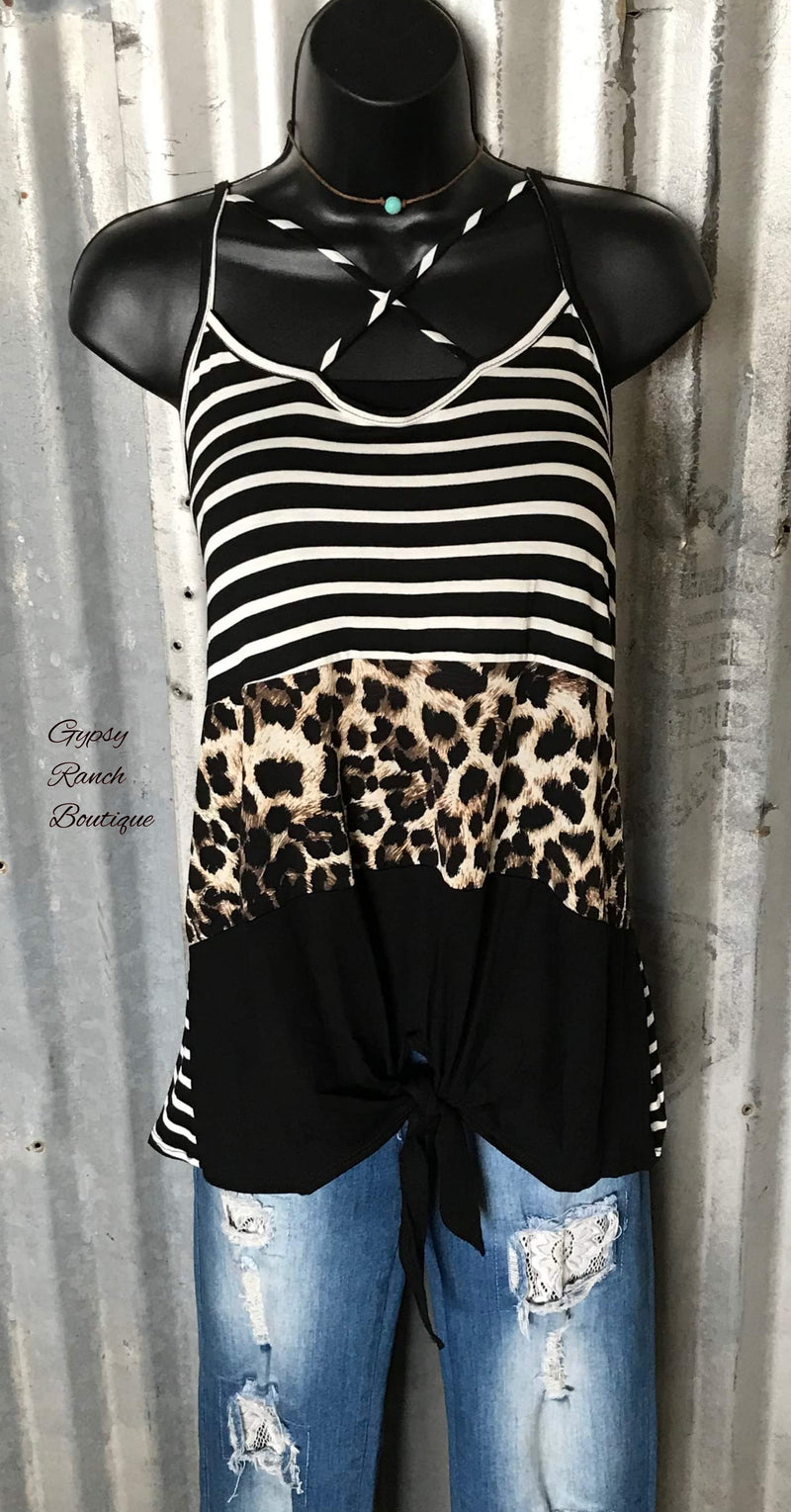 Del Rio Leopard Stripe Knot Tank Top - Also in Plus Size