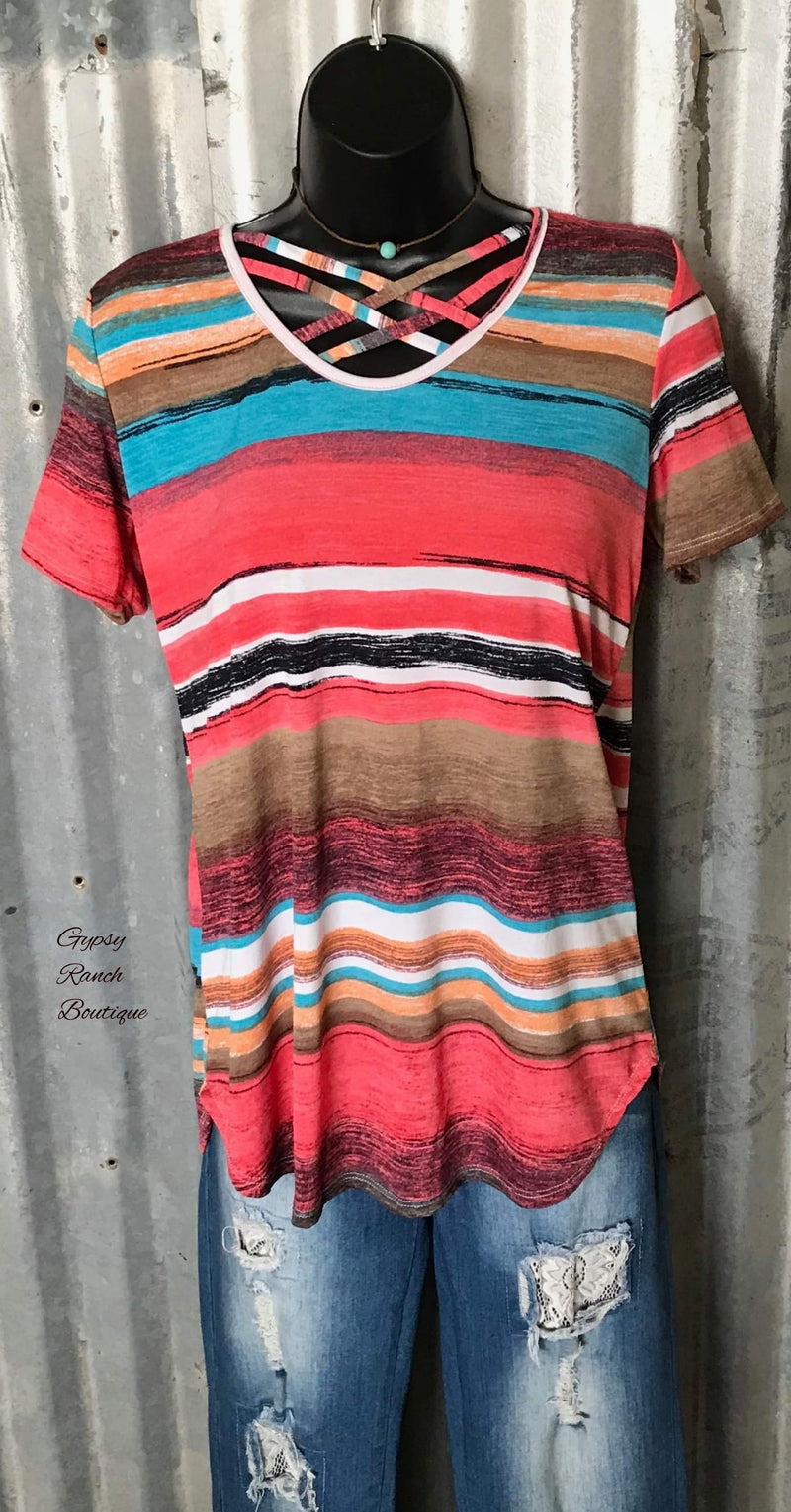 Mary Kate Serape Criss Cross Top - Also in Plus Size