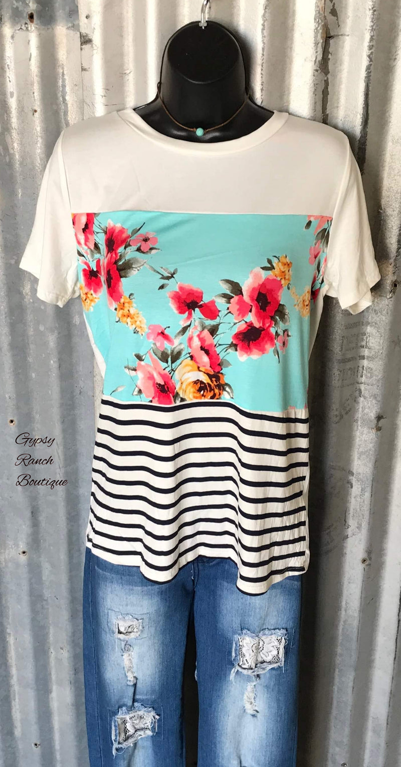 Huntington Beach Floral Stripe Top - Also in Plus Size