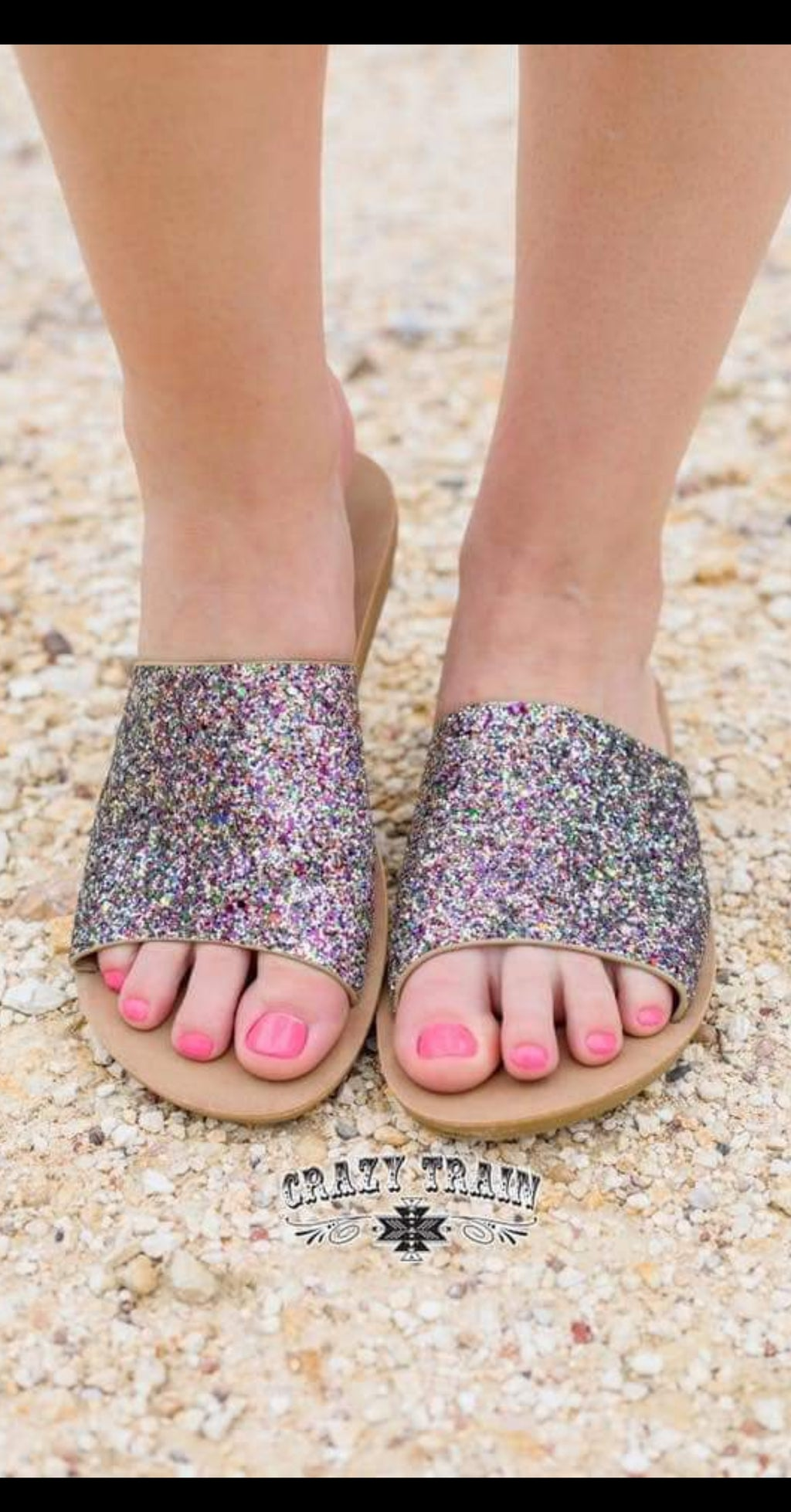 Showstopper Glitter Slide Shoes