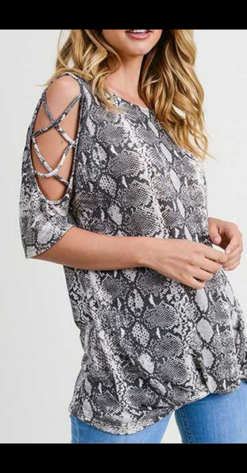 Abby Snake Print Criss Cross Shoulder Top