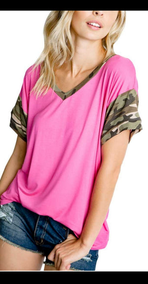 Kiya Camo Pink Top - Also in Plus Size