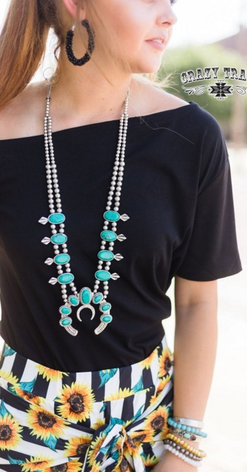 Miss Bloss Turquoise Squash Blossom Necklace
