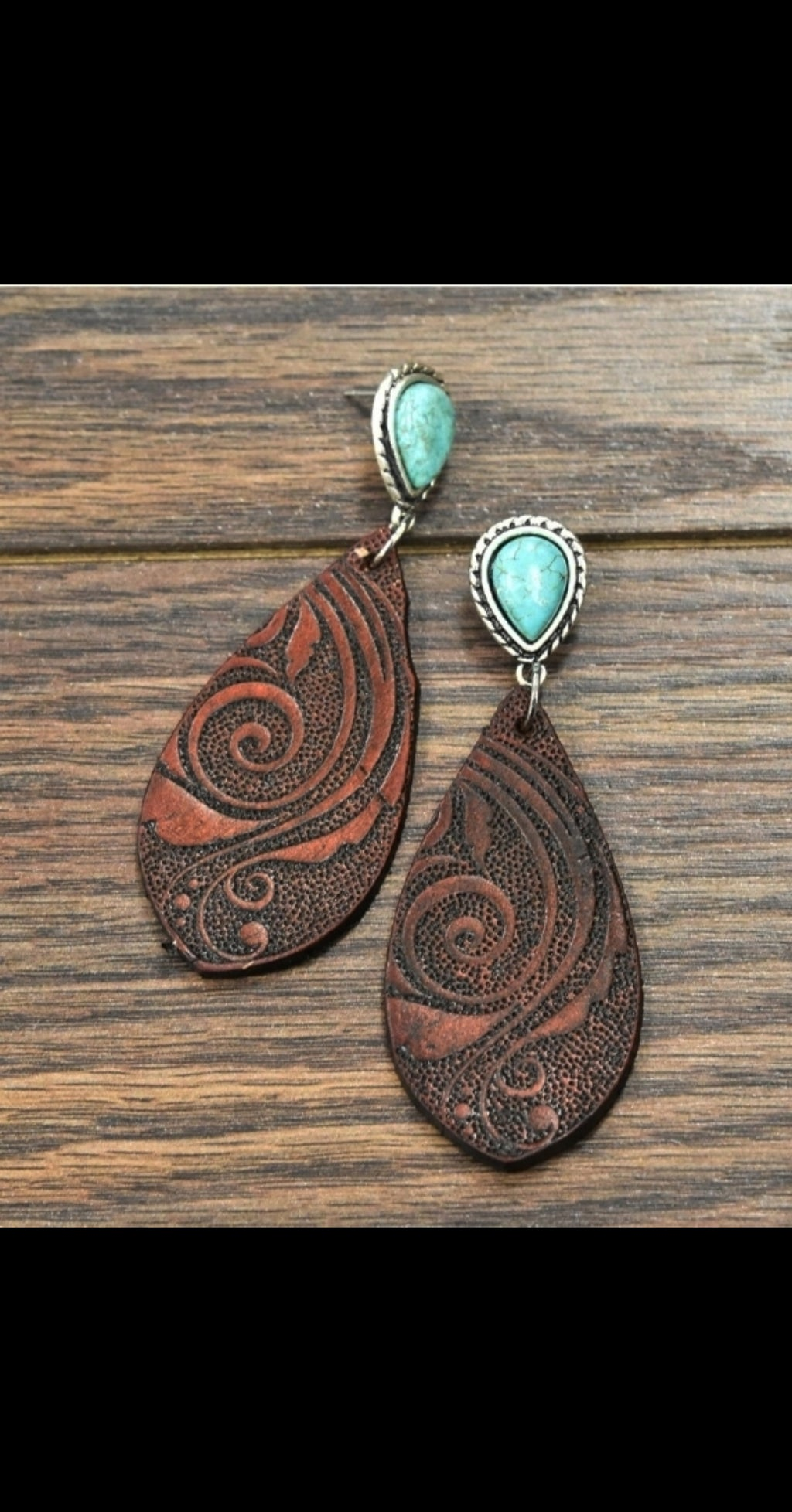 Timber Trail Tooled Leather Turquoise Earrings
