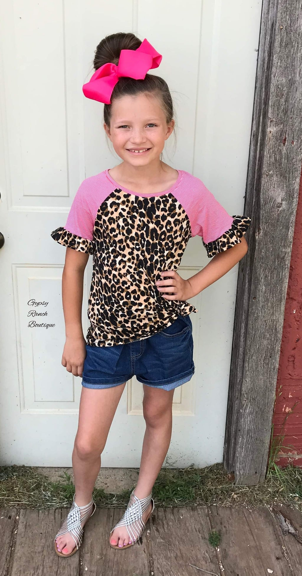 Kids - Lakeside Leopard Pink Stripe Top
