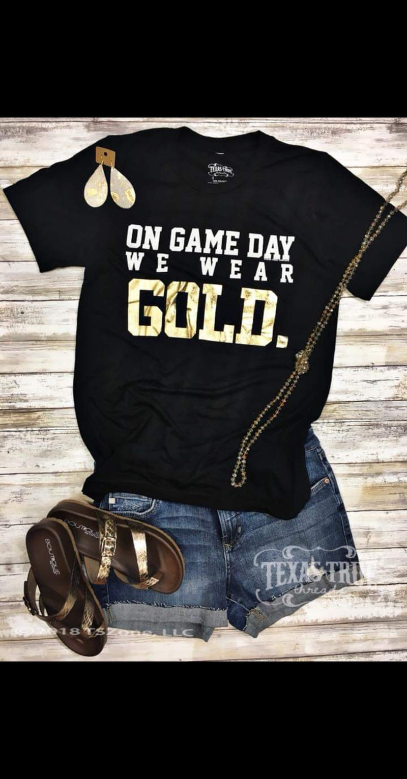Game Day We Wear Gold Top - Also in Plus Size