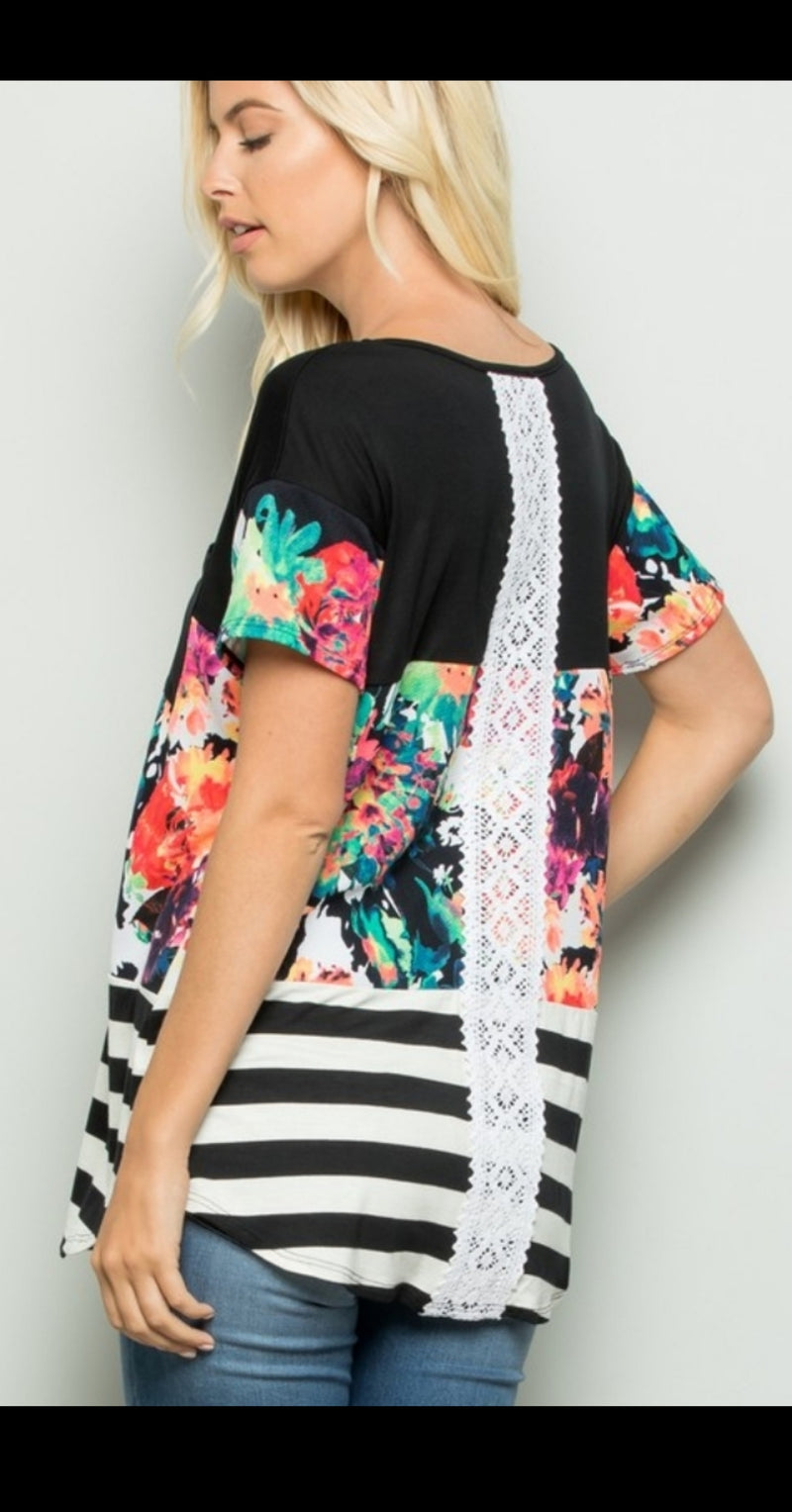 Millie Floral Color Block Top